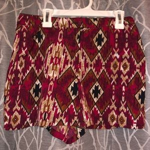 Red tribal pattern high waisted shorts